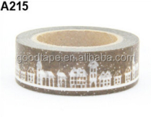 New 15mm*10m Cartoon Series Garden Series Building Brown Washy Tape Diary Masking Tape Brand H Beautiful Pattern