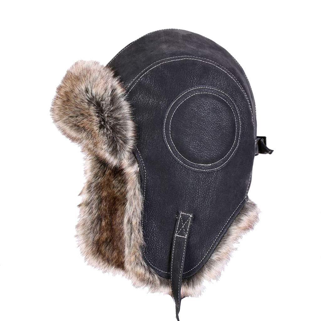 041ea8f3033 Get Quotations · Vintage Bomber Caps Faux Rabbit Fur PU Leather Winter Hats  Pilot Plush Snow Cap