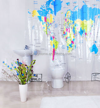 Transparent Word Map Design Plastic Shower Curtain