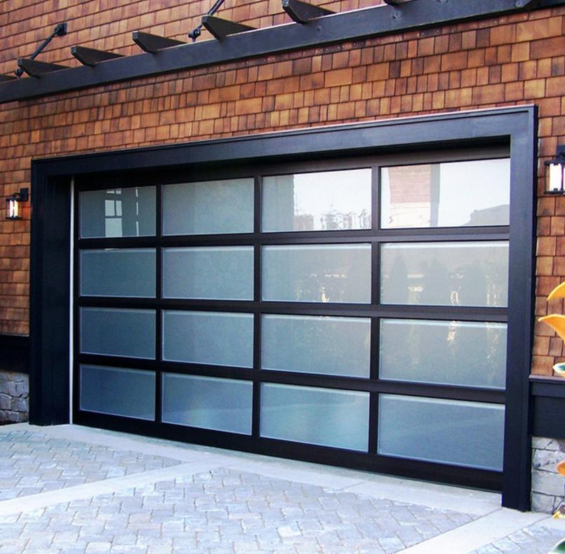 Prezzo poco costoso di alta qualità automatica di vetro di alluminio porta del garage per la vendita
