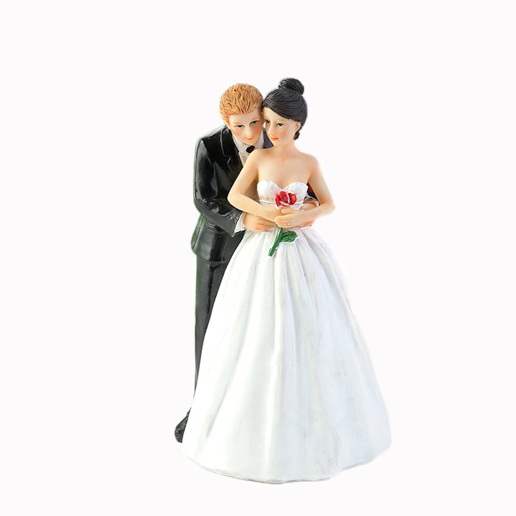 WeddingDepot Funny Bride and Groom Decorative Wedding Cake Toppers - Cake Topper Figurines, Keepsake Wedding Cake Decorations in Unique Pose (Tender Touch of Love)