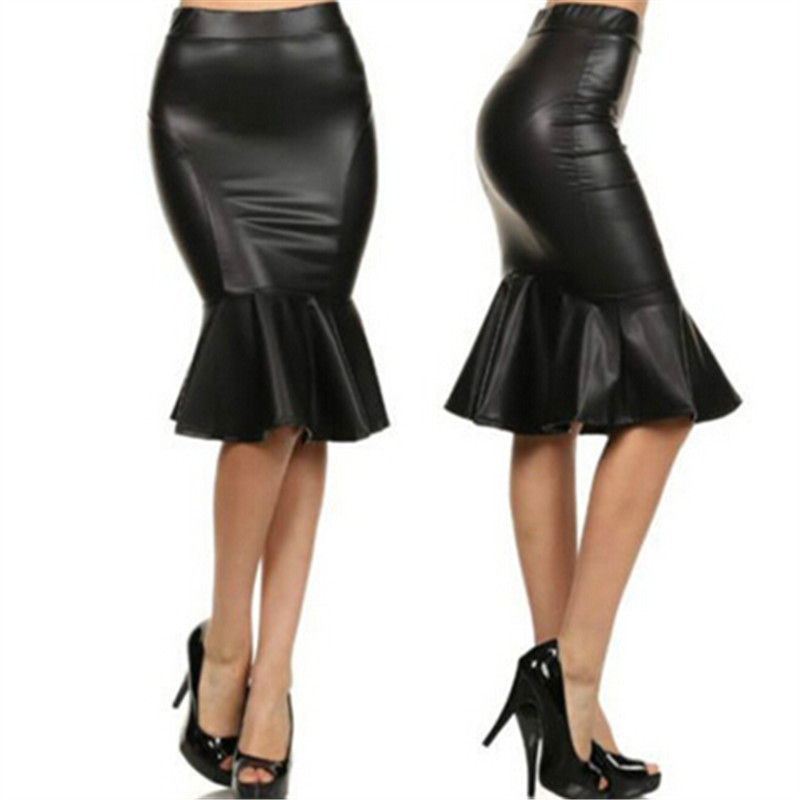 8cf4cd91af28a Get Quotations · Women Autumn Plus Size XXS-7XL Sexy Slim Faux Leather  Mermaid Skirt Woman High Waist