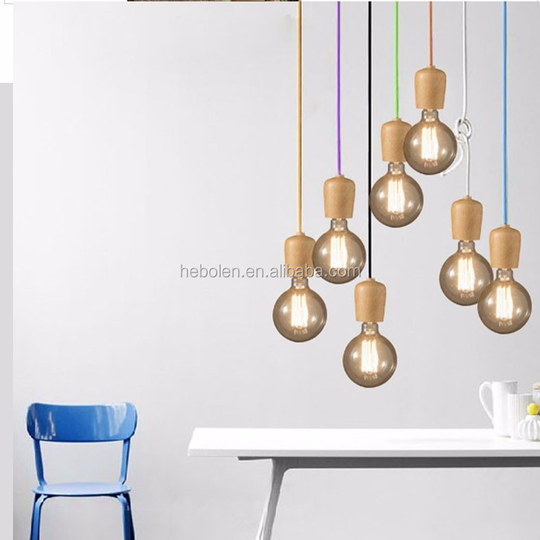 <strong>Modern</strong> Wood Pendant Lights Dining Room Cord Pendant Lamp Hanging Light Fixtures E27 Base Bedroom Suspension luminaire