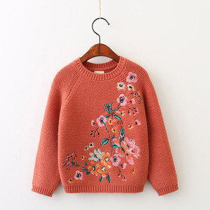 Wholesale in stock children girls embroidered pattern clothes kids knitted pullover sweater