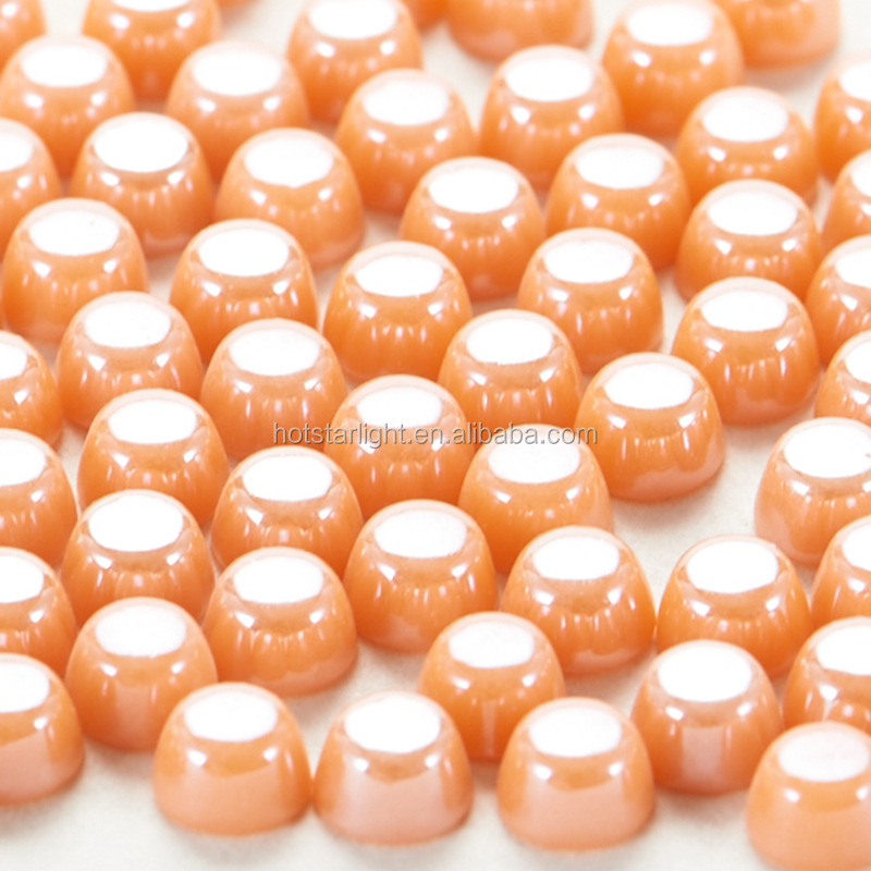 factory directly 5*6*8mm bucket nail head lt peach color iron on strass ceramic beads for clothing