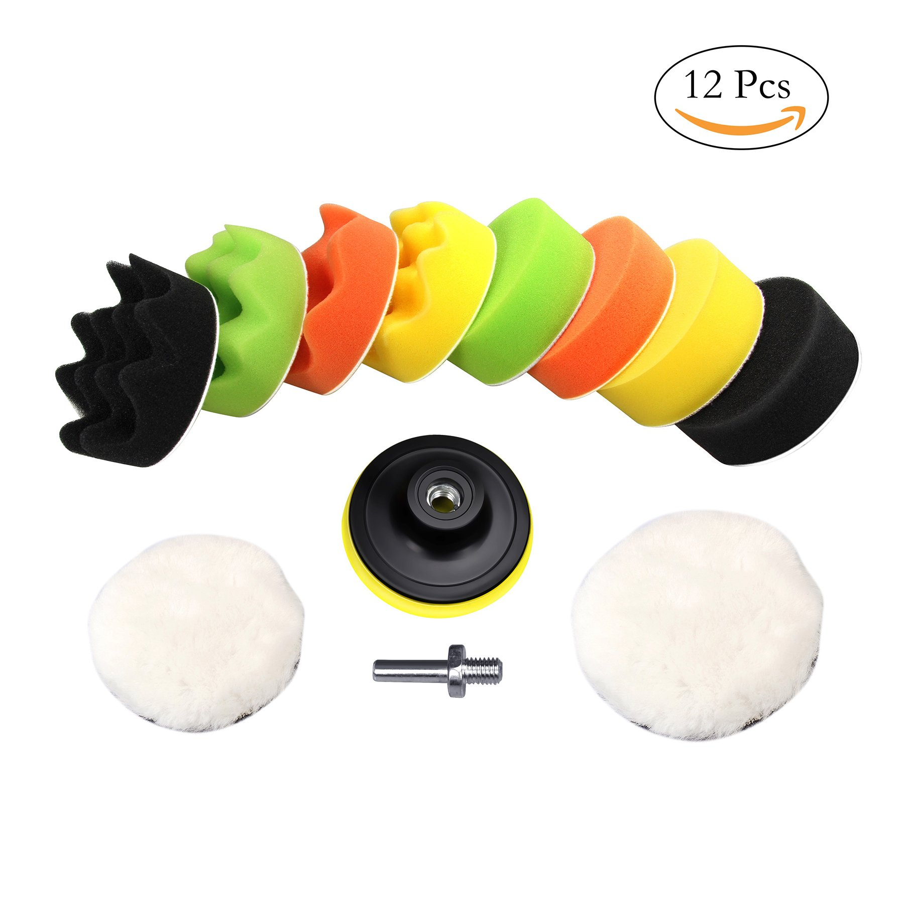 """3""""/80mm Buffing Pads Kit (Wool Sponge Polishing Pad) with M10 Drill Adapter 12pcs for Auto Car Sanding, Buffing, Waxing, Sealing Glazing by MoArmor"""