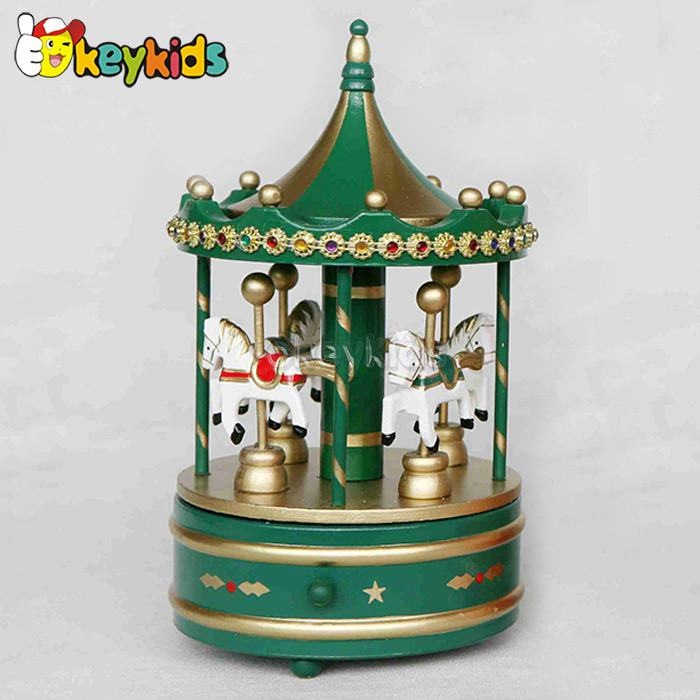 2016 wholesale baby wooden toy carousel music box, fashion gift kids wooden toy carousel music box W07B011B