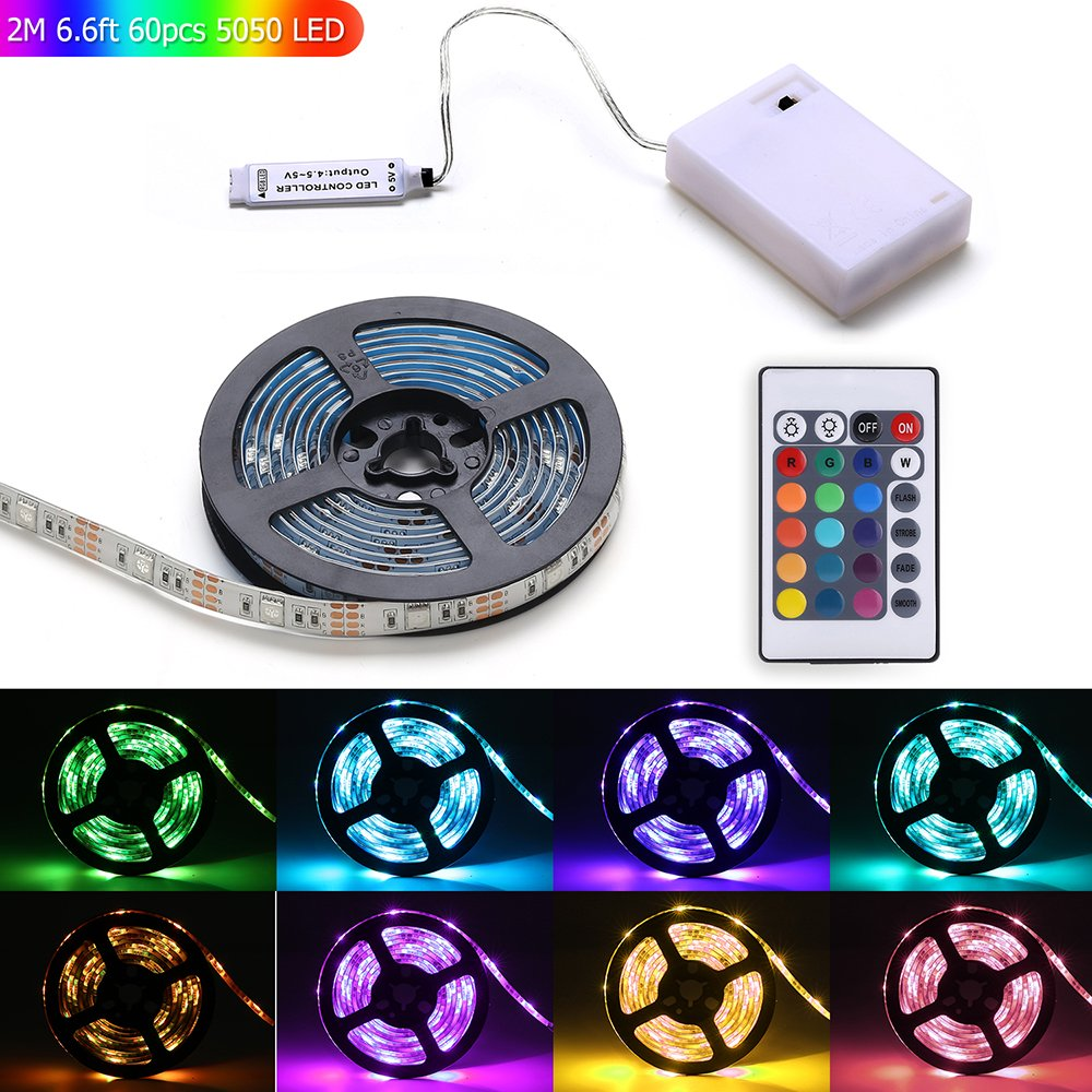 b65ea496dac9 Get Quotations · Led Light Strip Battery Powered,MEILLY RGB 2M / 6.6FT  60pcs 5050 Leds Strip