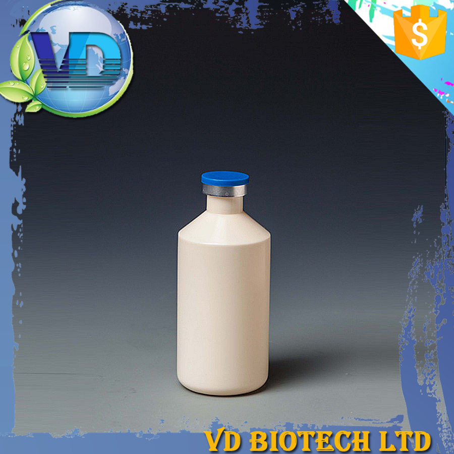 Clear empty HDPE plastic vaccine bottle of medicine with rubber stopper
