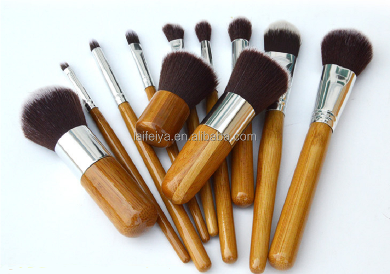 201711 pcs Hot Selling facial cleansing Makeup brushes Beauty cosmetics Women user Professional Makreup Brushes Bamboo Handle