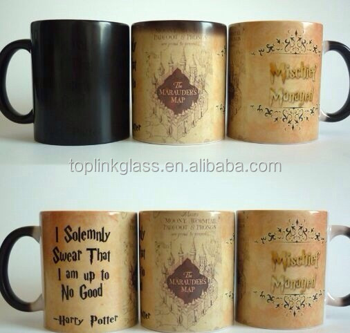 OEM hot water color changing coffee mug Harry Potter Marauders Map Color Changing Magic Mug Best Selling 11 Oz. Coffee Mug