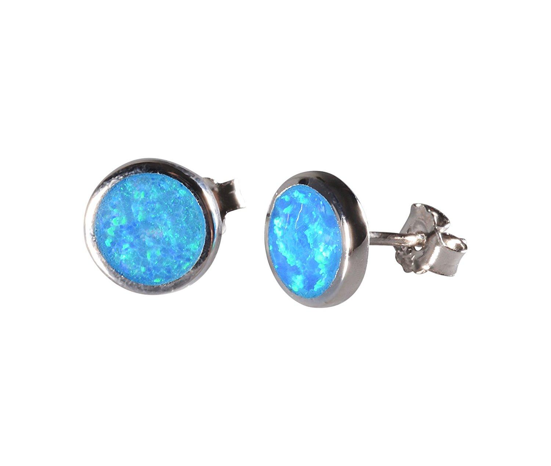 Sterling Silver Stud Earrings Round Opal Stud Earring 925 Sterling Silver Earrings Opal Stud Earrings