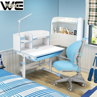 Folding adjustable children study table and chair