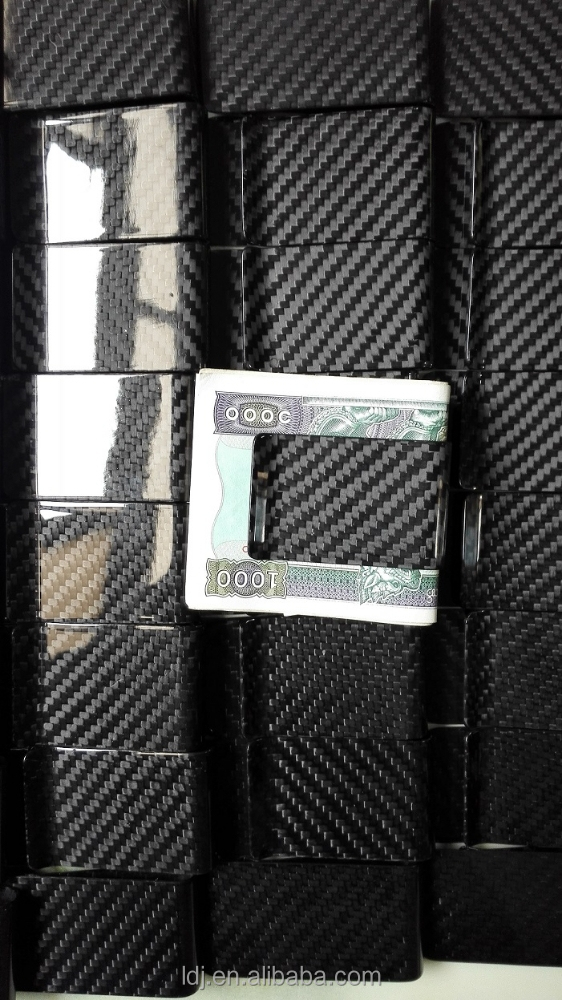Luxury carbon fiber money clip mens wallet with money clip