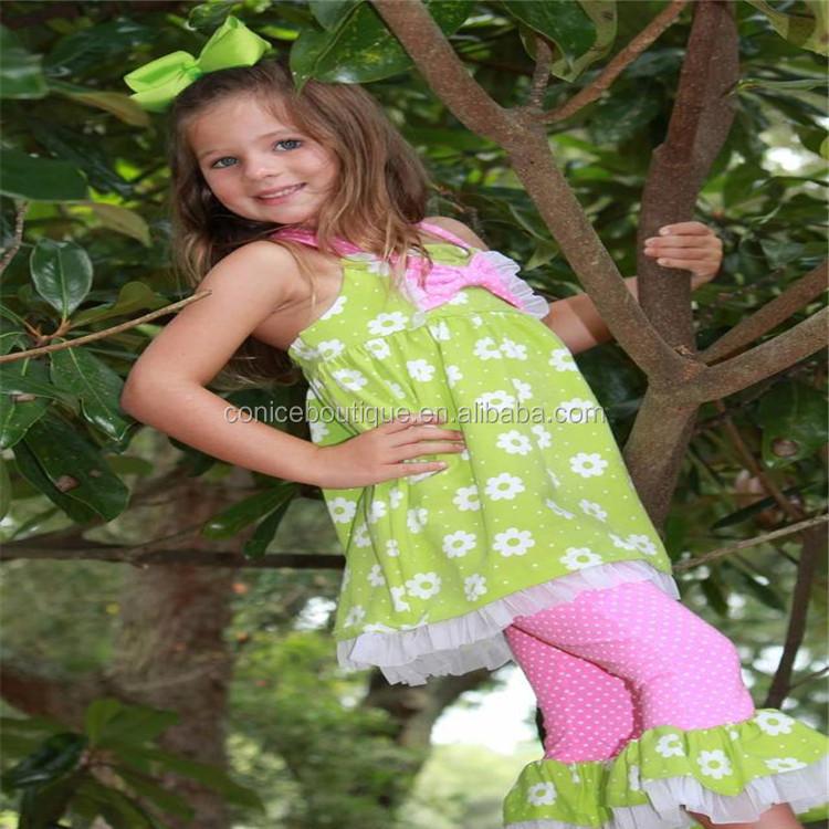OEM услуги летняя одежда для маленьких девочек топ без рукавов с цветочным принтом в горошек рюшами штаны оптовая продажа бутик