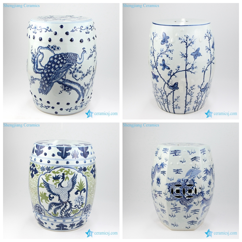 RZMV20-23 Luxury hand painted Jingdezhen delicate collectible green white blue ceramic stool