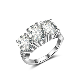 White Gold Plated Micro Pave Cubic Zircon Three Stone Engagement Ring CZ Diamond Eternity Ring