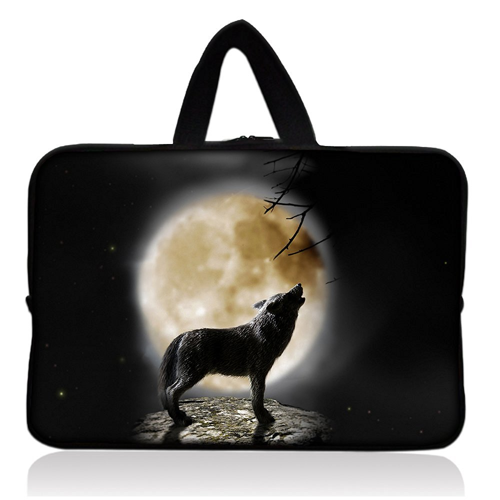 "COOL Wolf& Moon 7"" Neoprene Tablet Sleeve Pouch Case Bag w/ Handle For 7"" iRulu Android 4.2 Tablet PC /Samsung Galaxy Tab 3 7"" Android Tablet /7.9"" Apple iPad mini Tablet /Ematic 7"" Google Android 4.2 Tablet /Proscan 7"" Android 4.0 Touchscreen Tablet /Barnes & Noble NOOK Tablet 7"" Touchscreen"