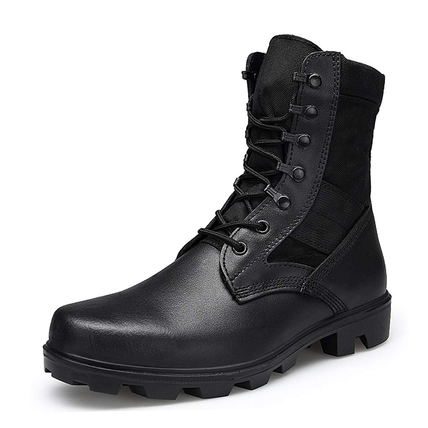 huge selection of 23857 8dd38 Get Quotations · ENLENBENNA Mens Combat Boots Military Boots Tactical  Leather Jungle Boots Desert Boots Black Composite Toe Lightweight