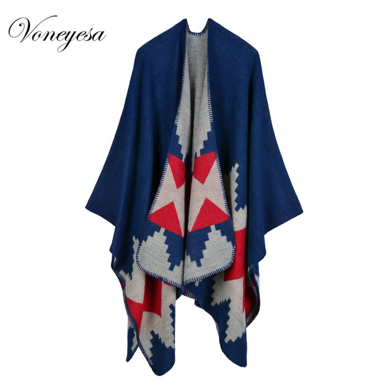 Women Winter Printed Blanket Striped Warm Ponchos Capes Knitted Warm Wool Women's shawls Scarf Wholesale china Scarves