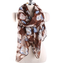 Comfortable cheap wholesale Malaysia scarf multi color owl pattern scarf