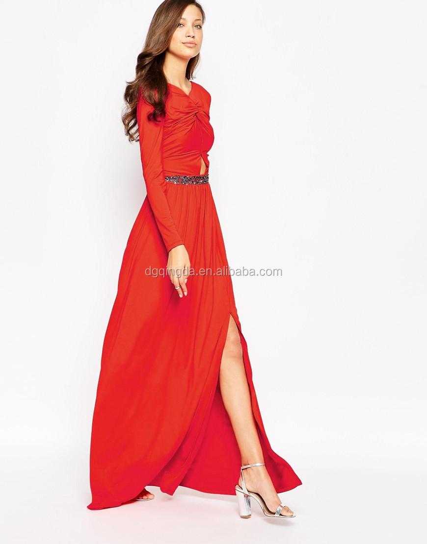 Pieghe Design Rosso Con Sexy Abito Elegante Davanti Manica Lunga A nk0O8wPX