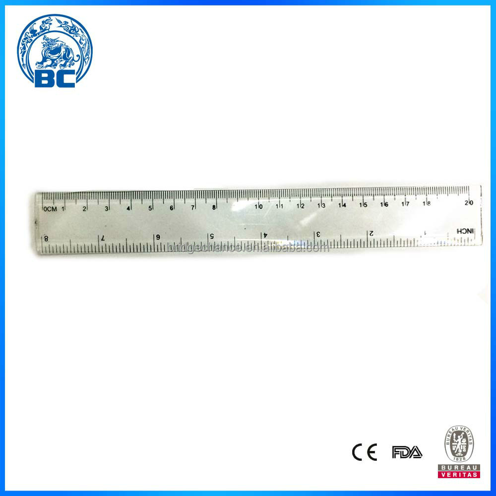 Accurate Scale Different Kinds Of Office Transparent 20cm Plastic Ruler