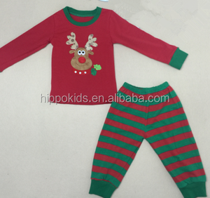 Wholesale family christmas pajamas stripe baby clothes clothing set kids pajamas