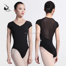11414114 Beautiful Mesh Short Sleeve black leotards