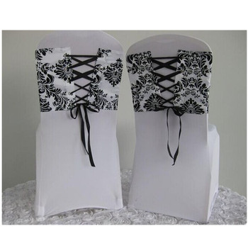 Groovy Spandex White And Black Corset Chair Sash Damask Chair Cover Band Flocking Buy Chair Cover Band Spandex Chair Sash Damask Chair Band Product On Download Free Architecture Designs Rallybritishbridgeorg