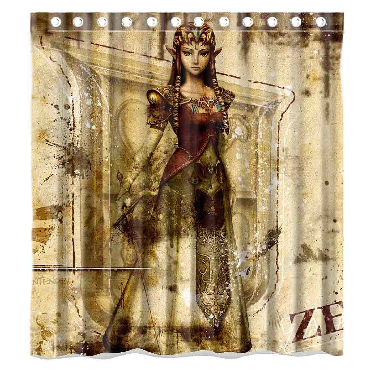 Get Quotations · Custom Video Games The Lengend Of Zelda Waterproof  Polyester Fabric Bathroom Shower Curtain Standard Size 66