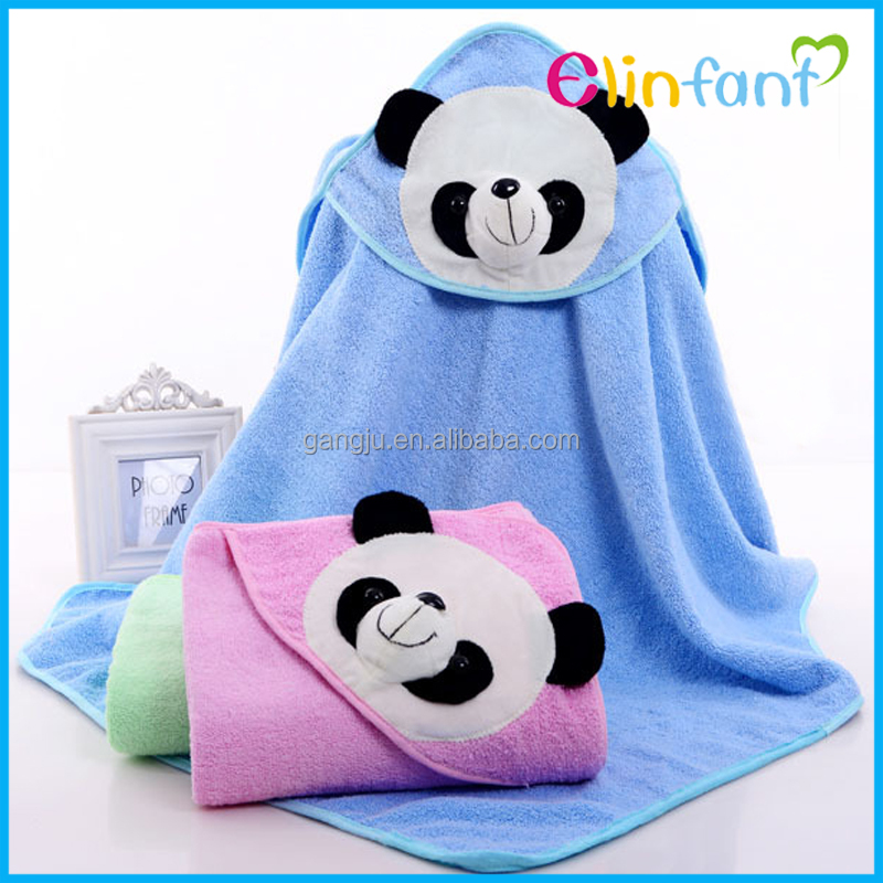 Elinfant 100% cotton panda baby hooded bath towel wholesale