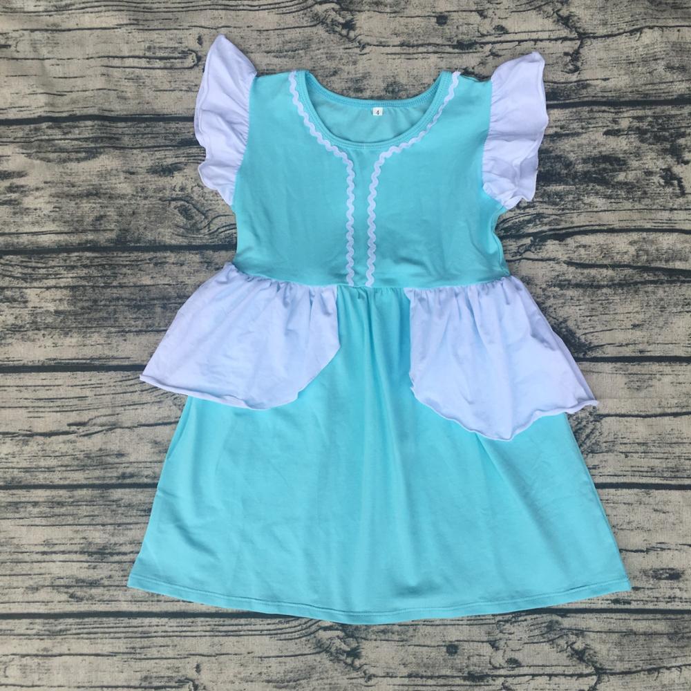 Wholesale Elsa Cotton Ruffle Blonde Head Party Dress Baby Girls ...