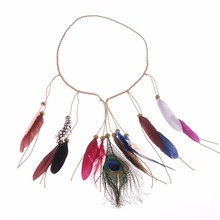 1PC Women Indian Peacock Feather Headdress Boho Style Headband Headwear Tribal Party Vacation Hair Rope Headpieces Hippie New