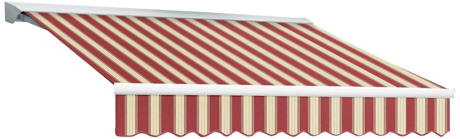 Awntech 24-Feet Destin LX with Hood Left Motor with Remote Retractable Awning Acrylic, 24 by 10-Feet, Burgundy/White Multi