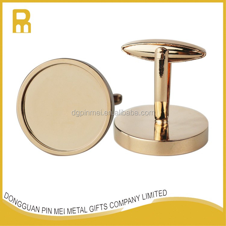 No mold fee 19mm DIY blank brass cufflinks manufacturer with digital printing