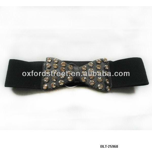 Stretch belt with bold bow decoration for women