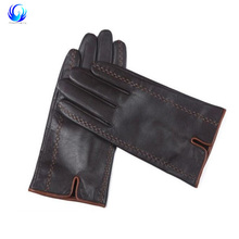 Men's Genuine Goatskin Leather Touch Screen Gloves Winter Warm Driving Mittens