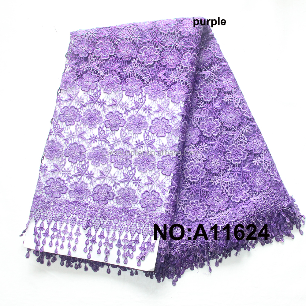 Wholesale soft african chemical lace african stone lace embroidery lace for wedding