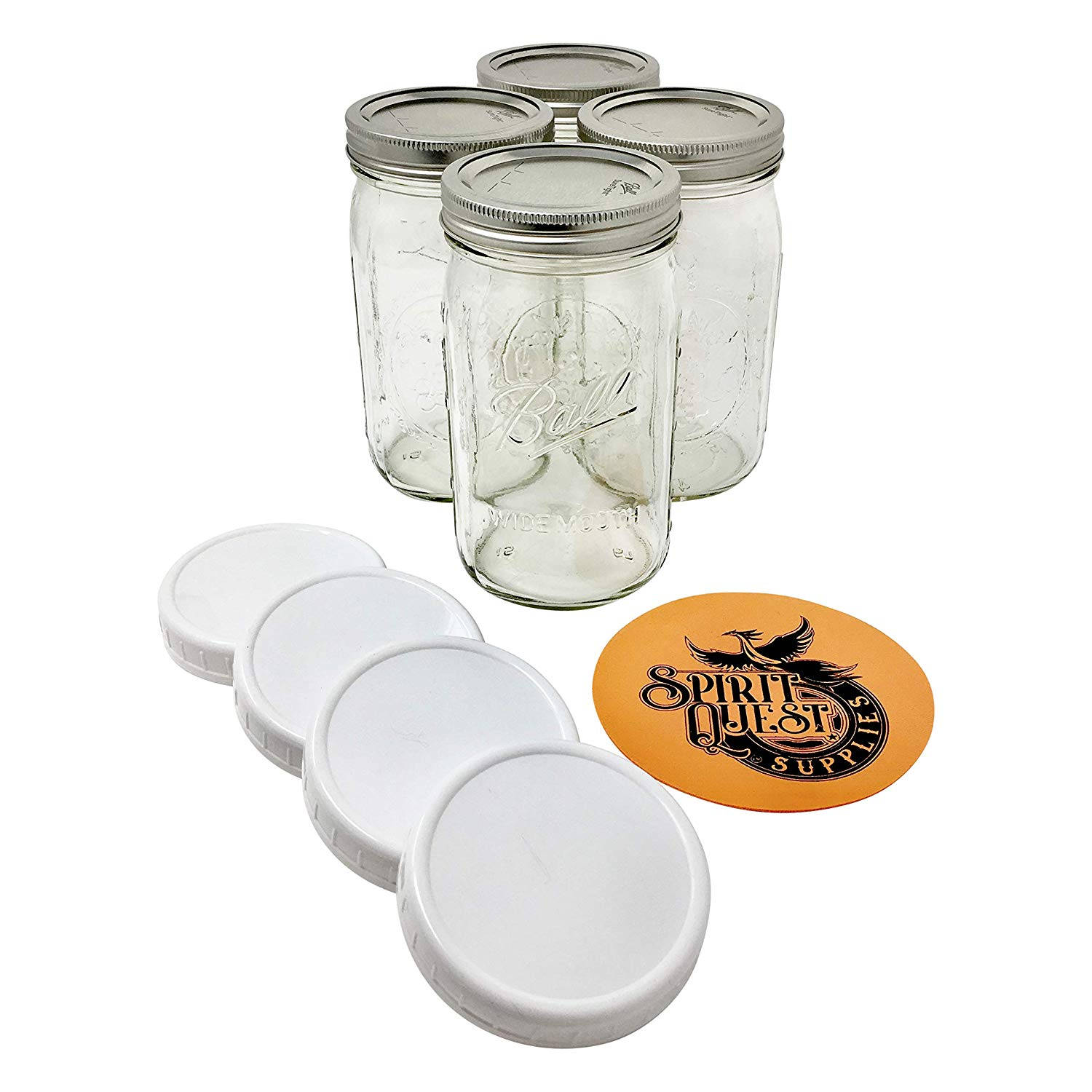 Ball Quart Mason Jars with Storage Lids and Jar Opener - Bundle Pack of 4 32 oz Wide Mouth Jars, 4 Storage Caps, and 1 Spirit Quest Supplies Large Jar Opener