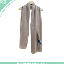 2017 New design plain grey embroidery women fashion scarves