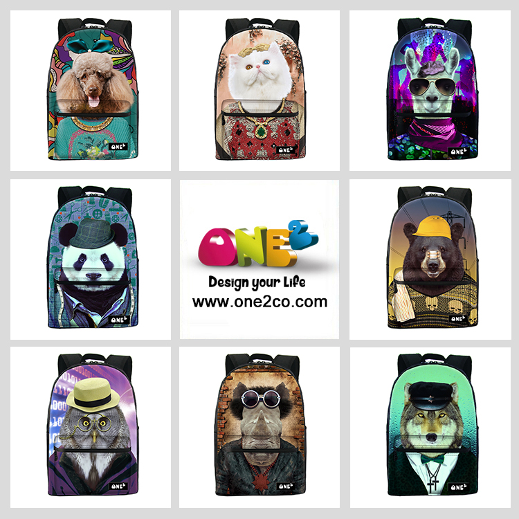 ONE2 cat animal pattern High quality fashion canvas wholesale backpack,floral canvas backpack