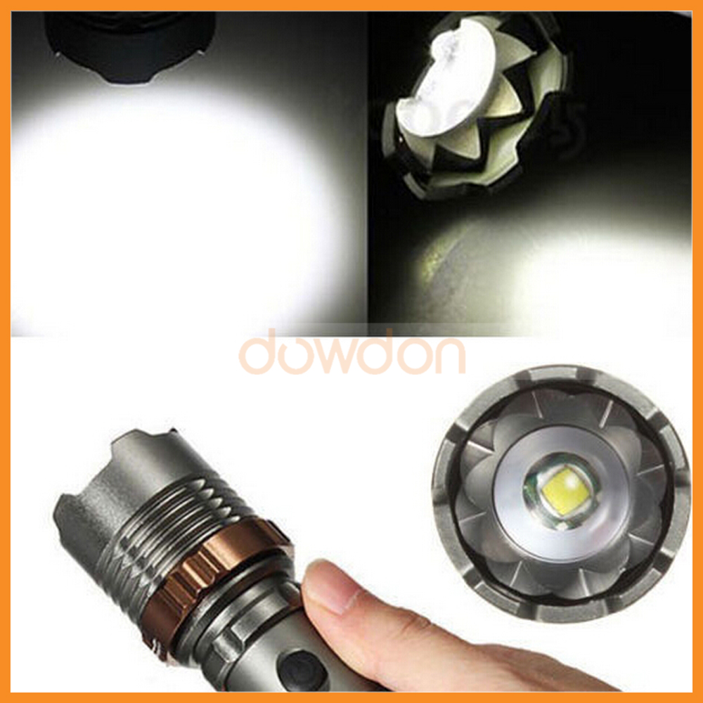 Zoomable Torch XML T6 LED Attack Head Flashlight 1000LM Operated By 18650 Battery 5 Mode Self Defence Flashlight