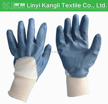 Yellow/Blue nitrile coated glove with interlock