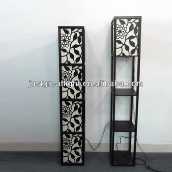 Laser Cut Art Wooden Floor Lamp With Fabric Shade For Home ...