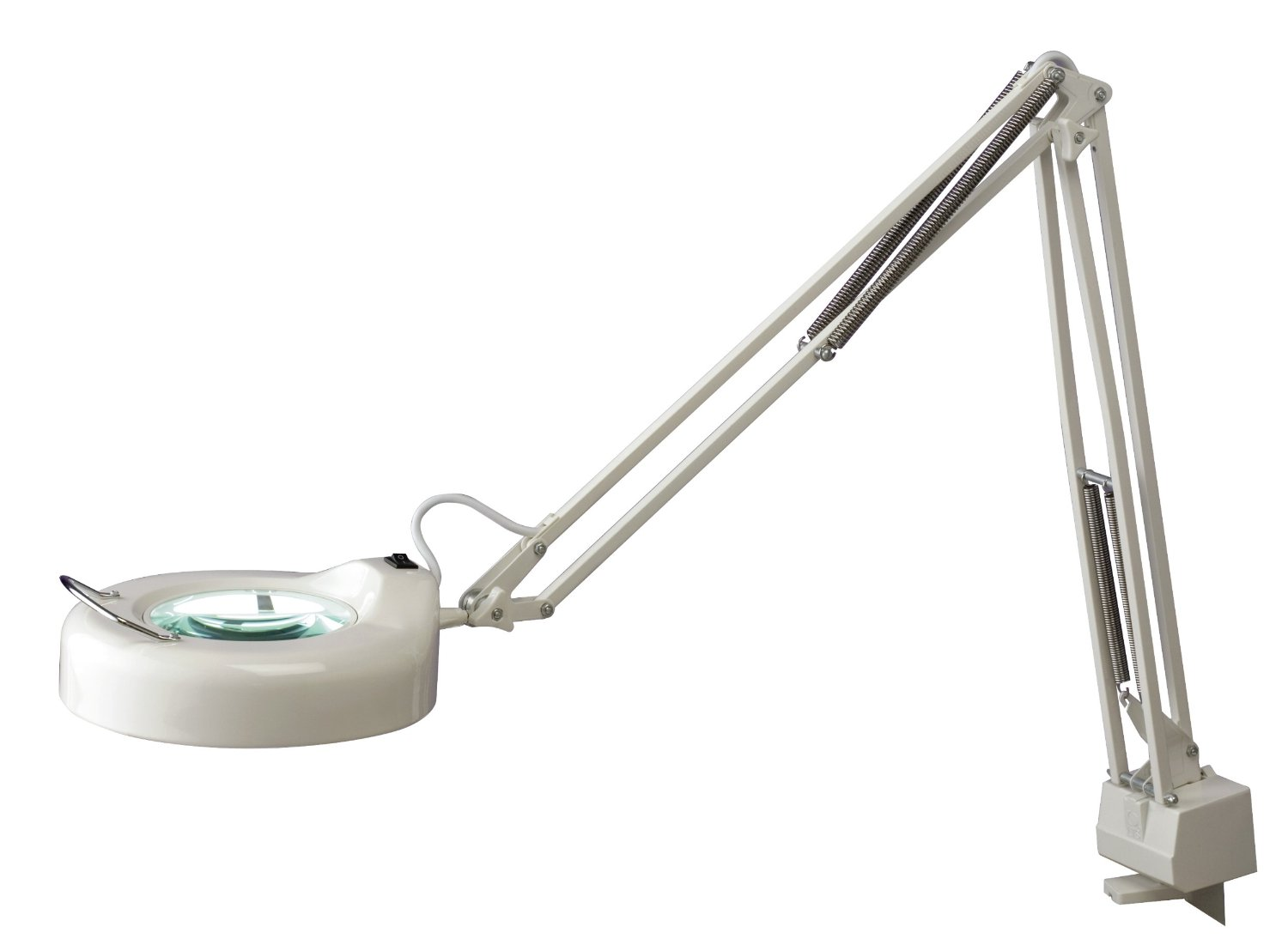 "Normande Lighting 22W Daylight Spectrum Clamp Lamp w/Magnifier. 42"" in Height with white Painted Finish"