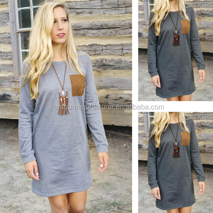 Wholesale Women Fashionable Gray Patched Tunics