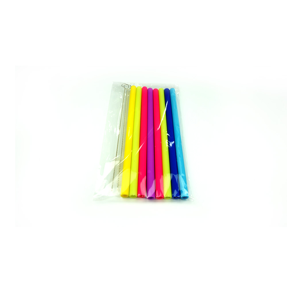 OEM / ODM cool drinking 9mm bendable long flexible silicone straw