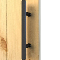 Heavy Duty Powder Coated Black Finish Matches Industrial Design Hardware Kits Flush Pull barn door handle