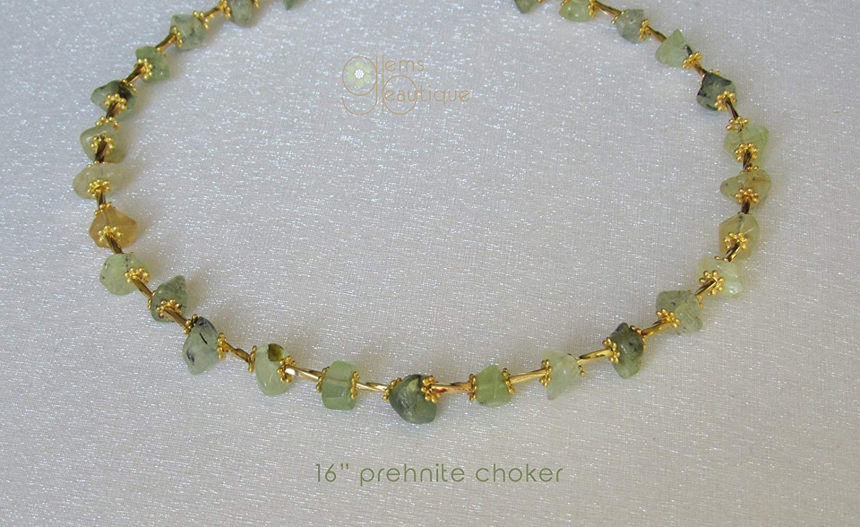 "GemsBeautique Aquarelle Green Prehnite Gold 16"" Choker Necklace. Translucent Prehnite. Optional thin delicate minimal layering gold choker. Elegant GIFT."